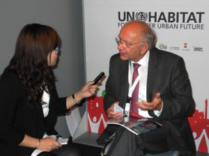 Götz being interviewed for a Chinese trade journal