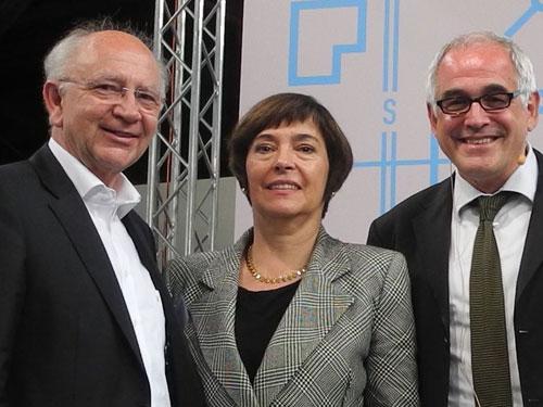 Peter Götz, Oda Scheibelhuber (BMVBS) und Prof. Michael Braum (Vorstandsvorsitzender der Bundesstiftung Baukultur).